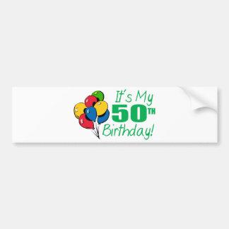 Es mi 50.o cumpleaños (los globos) pegatina para auto
