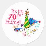 Es mi 70.o cumpleaños (los gorras del fiesta) pegatinas redondas