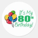 Es mi 80.o cumpleaños (los globos) pegatina redonda