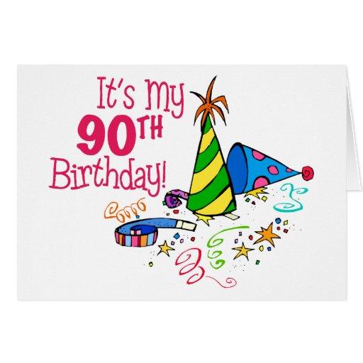 Es mi 90.o cumpleaños (los gorras del fiesta) tarjeta de felicitación