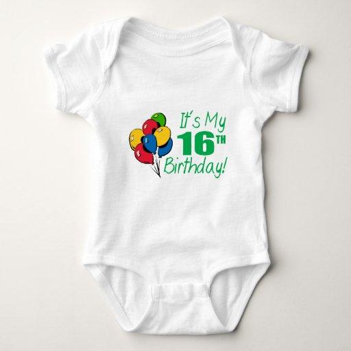 Es mi décimosexto cumpleaños (los globos) body para bebé