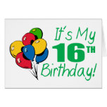 Es mi décimosexto cumpleaños (los globos) tarjeta