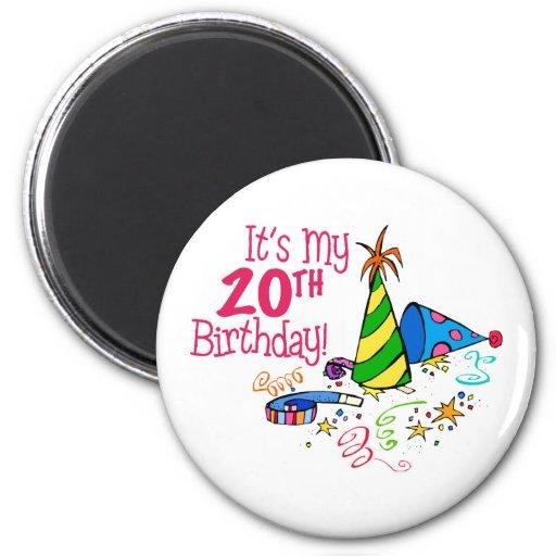Es mi vigésimo cumpleaños (los gorras del fiesta) imán redondo 5 cm
