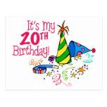 Es mi vigésimo cumpleaños (los gorras del fiesta) postal