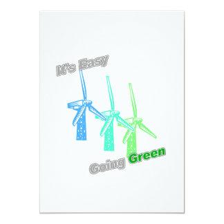 """Es molinoes de viento tolerantes del verde 3 invitación 5"""" x 7"""""""
