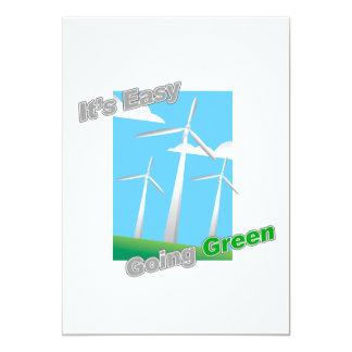 """Es molinoes de viento verdes tolerantes invitación 5"""" x 7"""""""