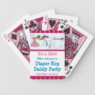 Es naipes personalizados del pañal del chica un ba baraja de cartas