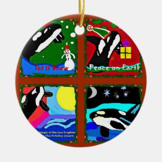 Es navidad de un collage de la orca adorno navideño redondo de cerámica