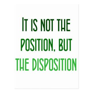 Es no el posición, sino la disposición postales