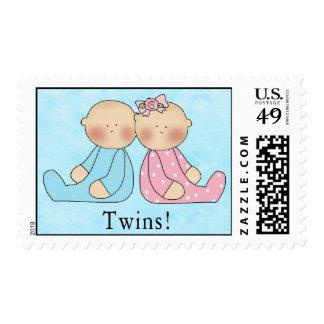 ¡Es nuevos bebés de los gemelos! Sello Postal