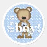 Es pegatina del oso del bebé del muchacho