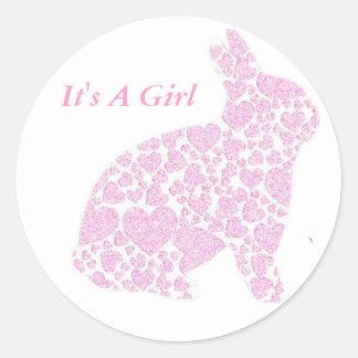 Es pegatinas del chica de un conejito del rosa pegatina redonda