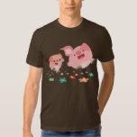 ¡Es primavera!! - Camiseta linda de dos cerdos del Polera