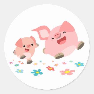 ¡Es primavera!! - Pegatina lindo de dos cerdos del