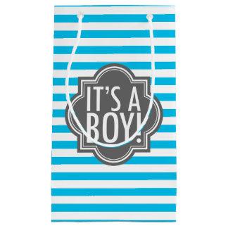 Es rayas azules y carbón de leña de un muchacho bolsa de regalo pequeña