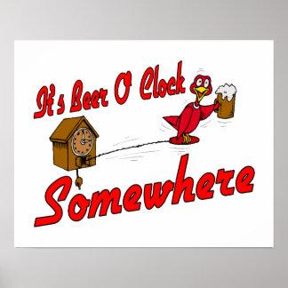 Es reloj de la cerveza O en alguna parte Póster