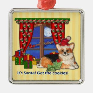"""¡""""Es Santa! Consiga las galletas!"""" Ornamento del Adorno Navideño Cuadrado De Metal"""