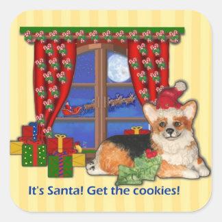 """¡""""Es Santa! Consiga las galletas!"""" Pegatina del"""