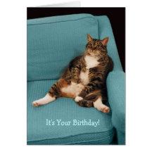 Es su tarjeta de felicitación gorda del gato del c
