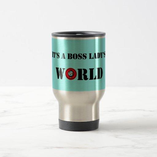 Es taza del World Travel de una señora de Boss