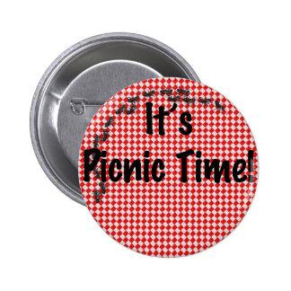 ¡Es tiempo de la comida campestre! Mantel a cuadro Pin