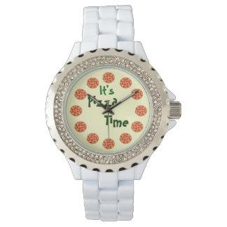 Es tiempo de la pizza divertido reloj de mano