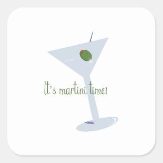 ¡Es tiempo de Martini! Calcomanía Cuadradas