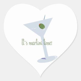 ¡Es tiempo de Martini! Calcomanías De Corazones Personalizadas