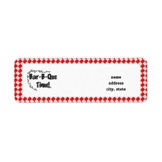 ¡Es tiempo del Bbq! Mantel a cuadros rojo w/Ants Etiquetas De Remite