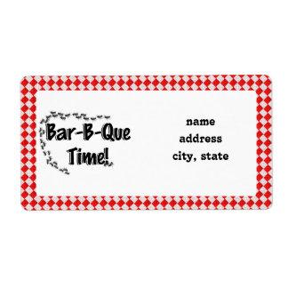 ¡Es tiempo del Bbq! Mantel a cuadros rojo w/Ants Etiqueta De Envío
