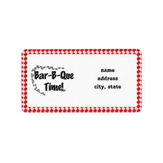 ¡Es tiempo del Bbq! Mantel a cuadros rojo w/Ants Etiquetas De Dirección