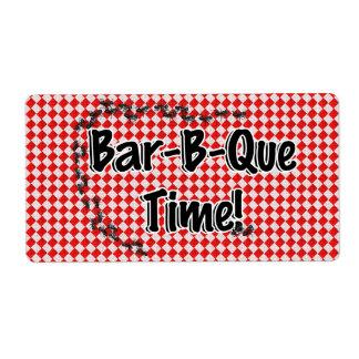 ¡Es tiempo del Bbq! Mantel a cuadros rojo w/Ants Etiquetas De Envío
