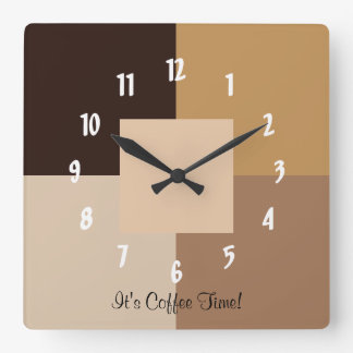 ¡Es tiempo del café! Reloj Cuadrado