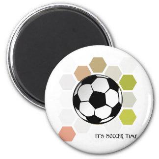 Es tiempo del fútbol imán redondo 5 cm
