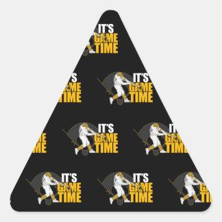 Es tiempo del juego - béisbol (amarillo) pegatina triangular