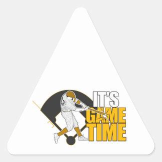 Es tiempo del juego - béisbol (el amarillo) pegatina triangular