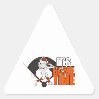 Es tiempo del juego - béisbol (el naranja) pegatina triangular