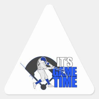Es tiempo del juego - el béisbol (azul) pegatina triangular