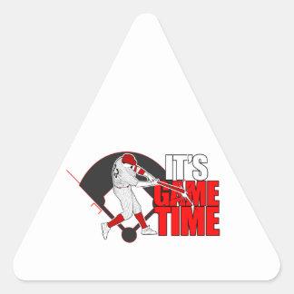 Es tiempo del juego - el béisbol (rojo) pegatina triangular