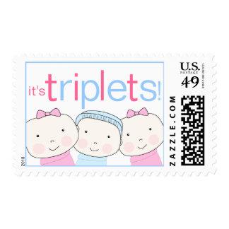 Es tríos 2 chicas un 1 franqueo azul rosado del sello