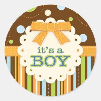Es un arco Brown azul del muchacho en bebé de las Pegatina Redonda