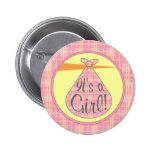 Es un botón del chica - cigüeña rosada de la tela  pins