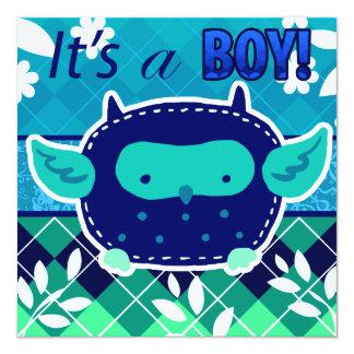 """""""Es un búho del bebé azul del muchacho"""" Invitación 5.25"""" X 5.25"""""""