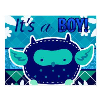 """""""Es un búho del bebé azul del muchacho"""" Postal"""