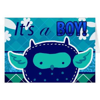 """""""Es un búho del bebé azul del muchacho"""" Tarjeta Pequeña"""