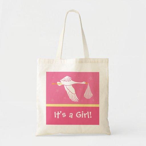 ¡Es un chica! Bolso - rosa y amarillo Bolsas Lienzo
