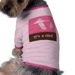 ¡Es un chica! Camiseta del perro - rosa/Brown Camisas De Mascota
