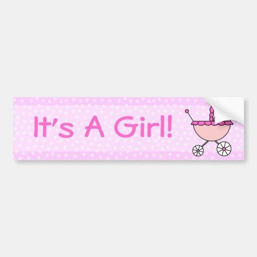 ¡Es un chica! Carro de bebé rosado Etiqueta De Parachoque