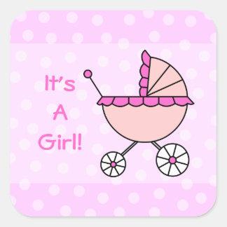 ¡Es un chica! Carro de bebé rosado Pegatina Cuadrada