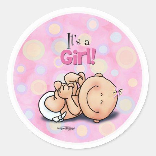 ¡Es un chica - enhorabuena del bebé! pegatinas Etiquetas Redondas